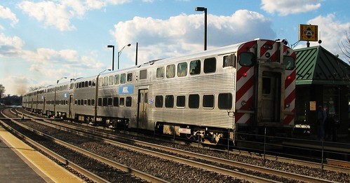 Westbound Metra local departing. Elmwood Park Illinois USA. Saturday, April 2nd, 2011. by Eddie from Chicago