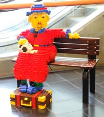 Lego Ajji (ArvinnArvin) Tags: wood blue red yellow digital bench nikon waiting pieces hand lego plastic made suitcase attached ajji p7000