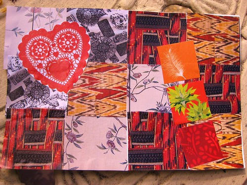 handmade postcard - red patchwork