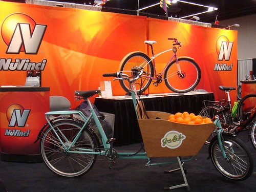 Boxbike with stress balls at Nuvinci booth, PDX Bicycle Show