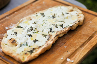 Grilled White Pizza with Four Cheeses and Herbs