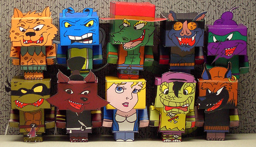 """Teenage Mutant Ninja Turtles Adventures"" & ""Mighty Mutanimals"" -   papercraft model figures  [[  CUBEECRAFT  models by Joshua Wolf  ]]"