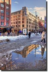 Melt / Disgelo (Fil.ippo) Tags: filippo d5000 hdr helsinki street strada melt disgelo reflection riflesso riflessi acqua snow water filippobianchi