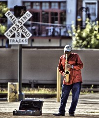 Playing the Blues!! (Ken Yuel) Tags: louisiana neworleans saxaphone frenchquarter streetperformer crossroads redshirt saxman railwaycrossing playingtheblues digitalagent kenyuel