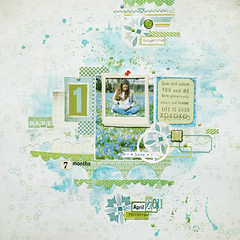 (ania-maria) Tags: green girl scrapbooking ma layout lift pastel lo pale bleu watercolors scrap watercolours challenge ils ecoline ilowescrap aniamaria prengenecy