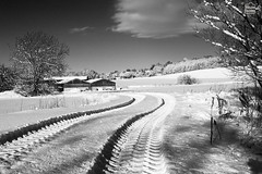 Farmland in Snow - Oxfordshire, England (Ye Light Gatherer) Tags: white snow tractor rural landscape countryside focus farm country tire marks trail land getty tyre anseladams ansel f64 bwlandscape hyperfocus