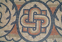 knot design, mosaic (sallycat101) Tags: uk art history sussex ancient ruins roman mosaic villa bignor archeaology