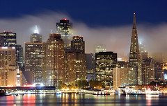 """They had style, they had grace..."" (mrperry) Tags: sf sanfrancisco city water fog skyline night buildings reflections bay skyscrapers embarcadero ferrybuilding highrises ybi transamericabuilding yerbabuenaisland embarcaderocenter 555california lowfog sffog 345californiacenter"