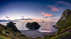 On The Precipice... (Mark Solly (F-StopNinja)) Tags: park new blue sunset sea sky panorama cliff beach nature drive islands back marine rocks dusk pano line sugar zealand shore gradient loaf precipice taranaki photostitch centenial sigma1020mm nikond90