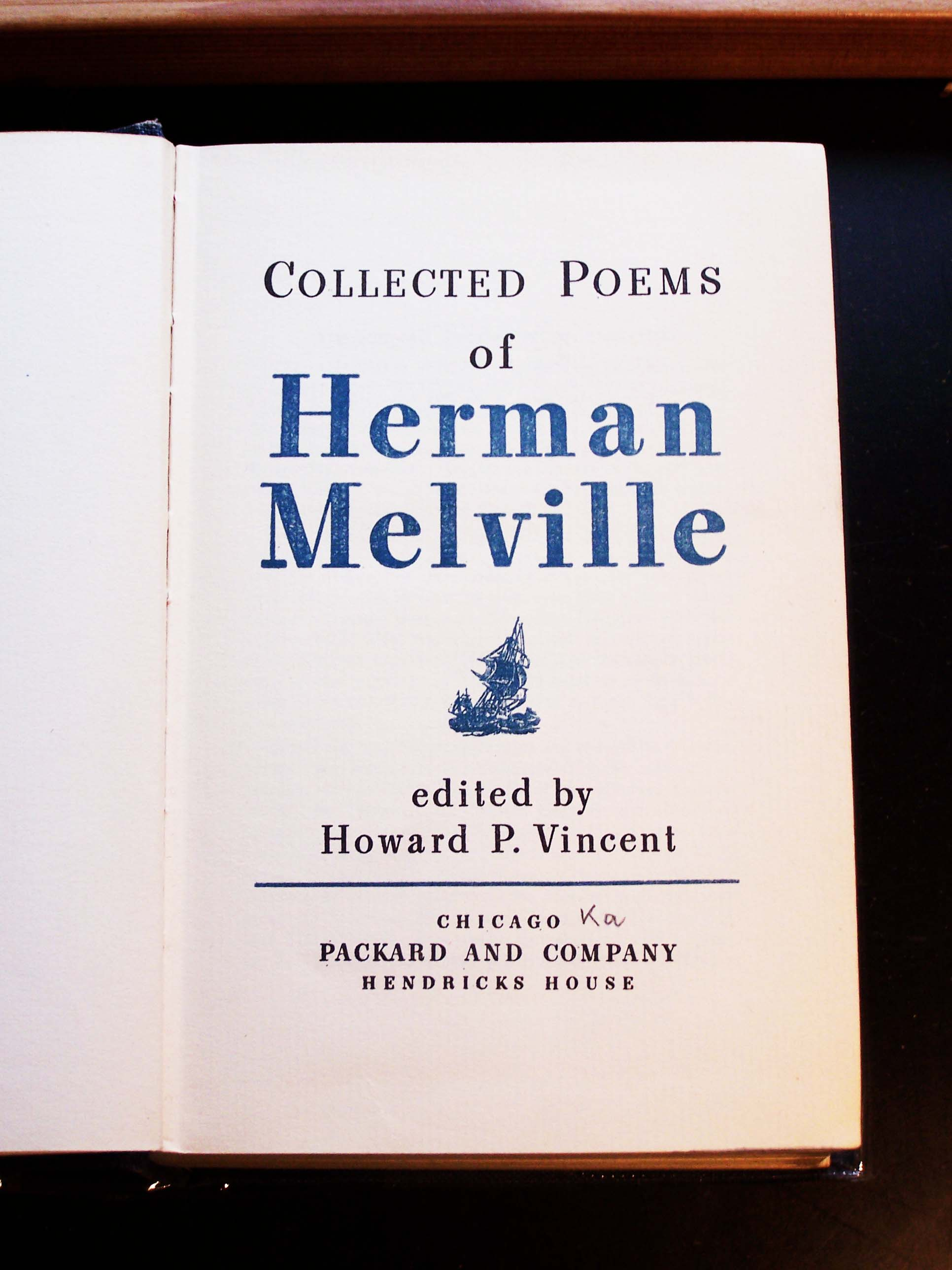 Herman Melville, Collected Poems Titelblatt