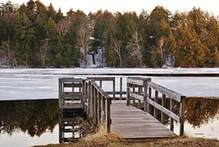 Early Spring Boat Ramp (chumlee10) Tags: reflection ice water wisconsin wooden dock sony mercer wi a300 ironcounty boatlanding mercerlake