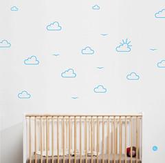 Birds & Clouds wall stickers (Hu2 Design & Art) Tags: sun birds clouds graphicdesign stencil child wallsticker pastelblue walldecal hu2 antoinetesquiertedeschi kidbedroomdecoration