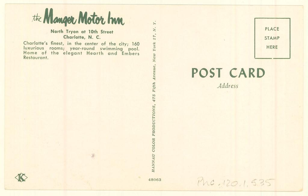 PhC 120 1 535-back Manger Motor Inn, Charlotte, NC, postcard