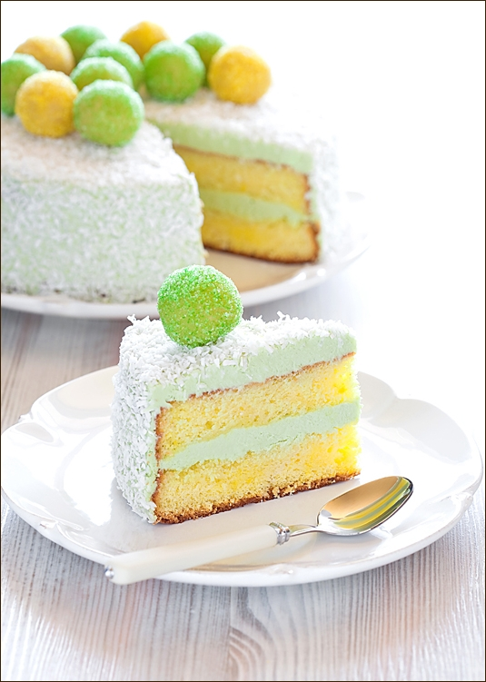Saffron and Matcha Cake