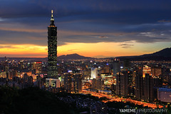 Taipei 101, Taipei (yameme) Tags: sunset night canon nightshot taiwan 5d taipei taipei101      flickraward flickraward5