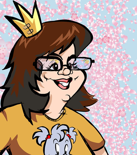 A cartoon image of Christine Smith, a white woman smiling while wearing glasses and a crown