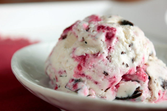 Raspberry Swirled Chocolate Chunk Ice Cream