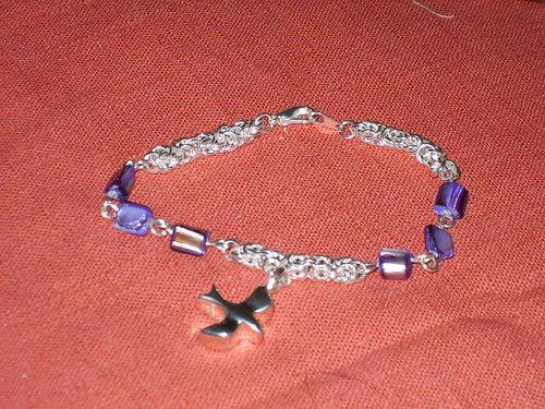 Purple beaded charm bracelet
