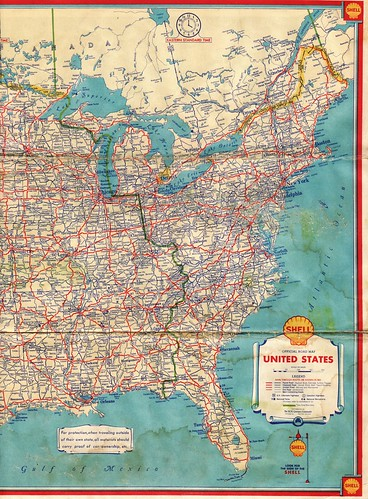 1934 Shell Road Map