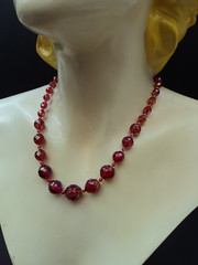 50s Vintage AB coated graduated red faceted imitation crackle glass beads(plastic (Vrai Vintage) Tags: red glass vintage design beads perfect designer antique style ab retro faceted 20thcentury coated crackle collectable graduated imitation midcenturymodern midcentury mcm vrai 20thc mid20thcenturydesign vraivintage necklace50s