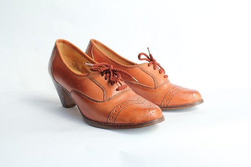 stacked heel brogue