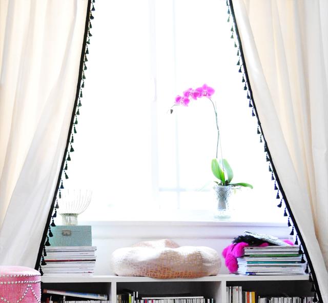 DIY  Curtains with tassels+office window nook +bench bookshelf