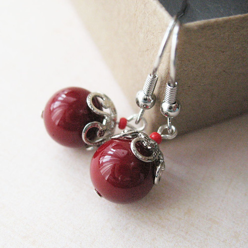 Small Red Shell Earrings
