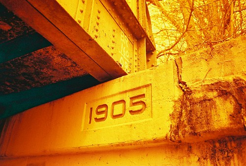 1905 Train Trestle, Schenectady, NY in Redscale