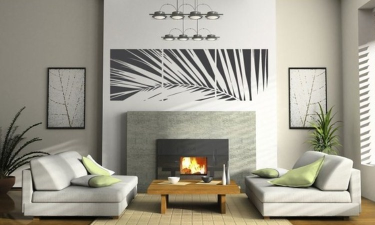 Removable Vinyl Wall Sticker Decal Art - Life's a Breeze three square panel decal palm frond