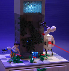 Are you still there? (Catsy [CC]) Tags: mod lego edited painted blacklight valve portal custom modification vignette turret chell moc portal2 catsy brickarms lifelites