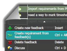 insight management - create requirement from feedback