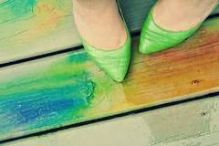 One Hundred Seventy One. (alibubba) Tags: wood portrait feet colors rain self watercolor puddle rainbow colorful paint song grain faceless 365 johnmayer lyric greenpumps twampss thiswillallmakeperfectsensesomeday theresgottobeareasonfortherain
