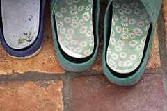 Rubber garden clogs details (!.Keesssss.!) Tags: netherlands horizontal outdoors photography day nopeople simplicity extremecloseup sandal gettyimages royaltyfree colorimage theflickrcollection keessmans 218ksgetty