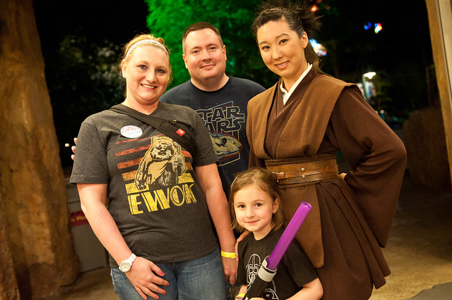 Kevin and Jennifer Thomas from Illinois with Daughter Zoey at the Star Tours Meet-Up