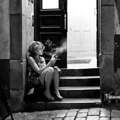 Square smoke. (TheBjoerkman) Tags: portrait blackandwhite bw girl night vintage square 50mm blackwhite alley stockholm smoke streetphotography explore 5d gamlastan noise canoneos5d gatufoto