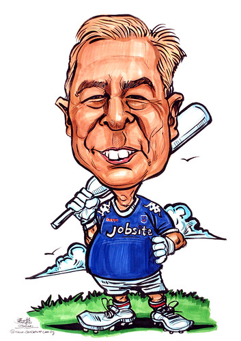 Pompey football cricket bat caricature