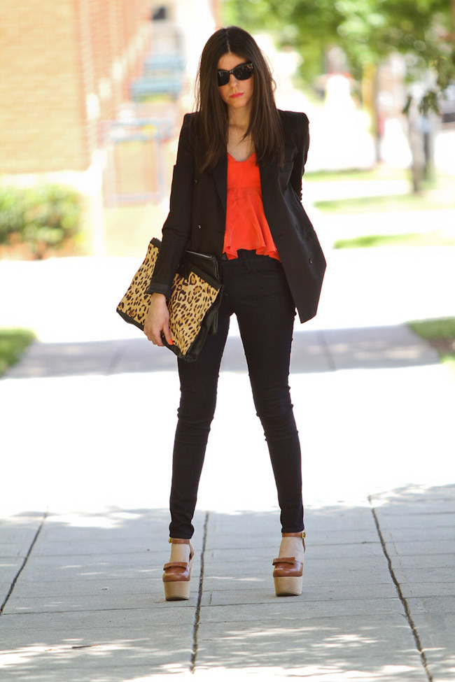 Neon Orange Fashion, Black Orchid Skinny Jeans, Black Blazer, Marc Jacobs Gold Watch, Leopard Print Clutch bag, Opening Ceremony Chloe Sevigny Mary Janes