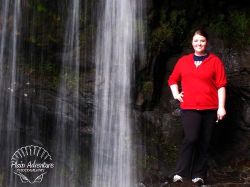 Karen next to Grotto Falls watermark