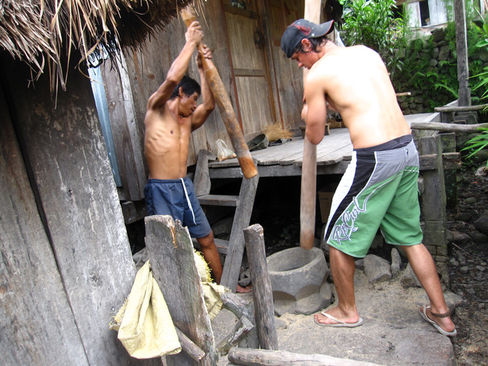 Pounding rice in Batad