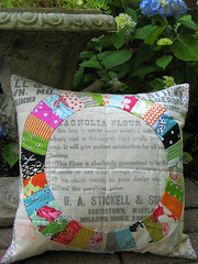 pts5 done! (lesleyandsara) Tags: vintage market 5 talk pillow swap fancy feed sack patchwork flea