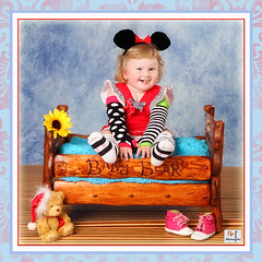 (MissSmile) Tags: red baby color girl smile studio square fun mouse happy kid child bright framed stripes joy vivid cutie frame props mickimouse misssmile
