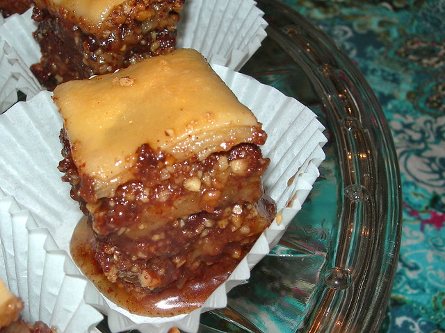 Slice of Hazelnut Chocolate Baklava