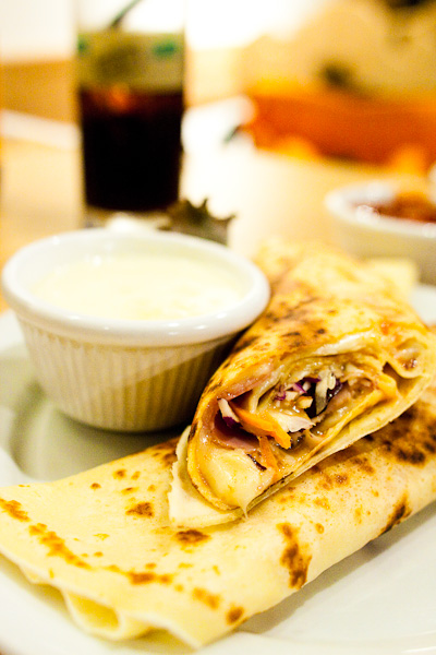 Savoury Crepe filled with Ham and Cheese