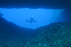 swim through (loose-ends) Tags: doublearch gozo dive diving mediterranean sea