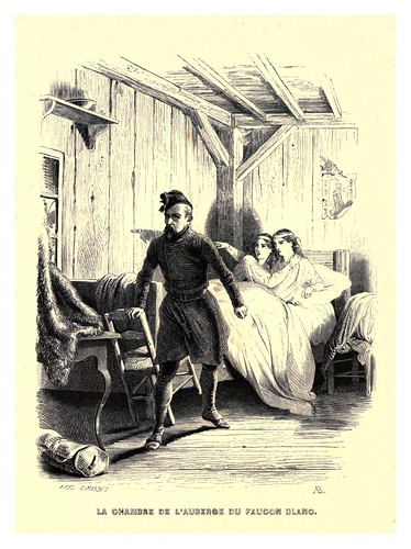 004-La habitacion en el algergue del Halcon blanco-Le juif errant 1845- Eugene Sue-ilustraciones de Paul Gavarni