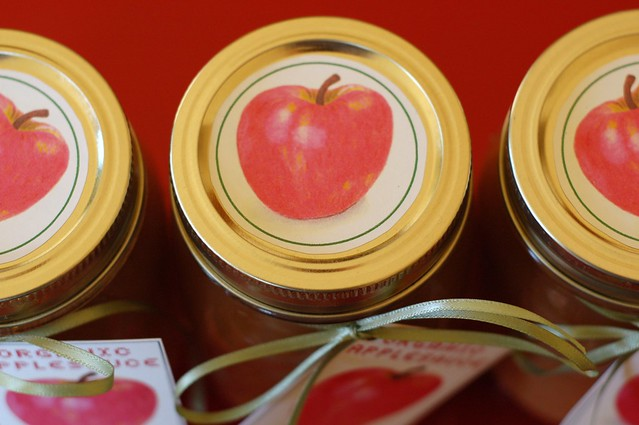 Jars of homemade applesauce with label by Eve Fox