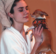 Teddy Needs a Bath (faith goble) Tags: woman dog chihuahua art girl smile shower sweater kentucky ky faith young towel tiny tub turban teacup bathrobe bowlinggreen goble faithgoble gographix heritage2011 faithgobleart
