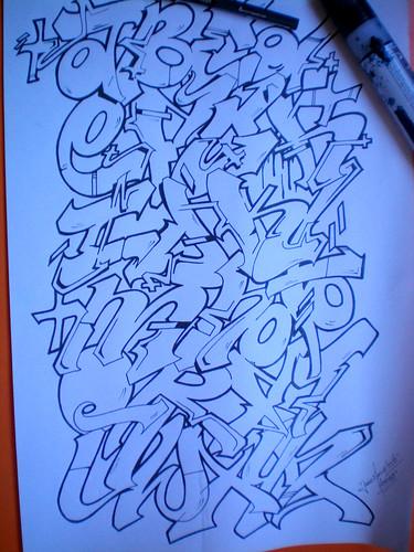 el abecedario en graffiti. abecedario de graffiti parte 2