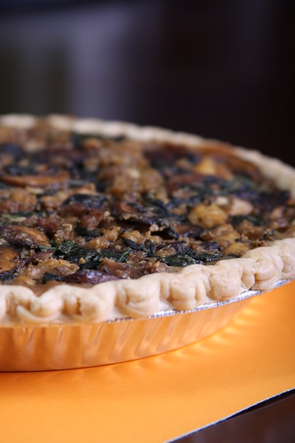 Spinach, Mushroom and Soysage Tart