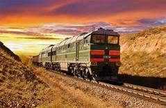 (Temuulen.B) Tags: railroad sunset sun train spring mongolia locomotives  2m62  2116 mongolianrailway